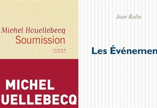 Les couvertures des livres «Soumission», de Michel Houellebecq, et «Les événements», de Jean Rollin.
