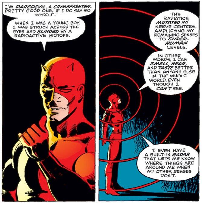 Super-pouvoirs sensoriels et onde concentrique. Une représentation commune du «sens radar» de Daredevil dans les comic books