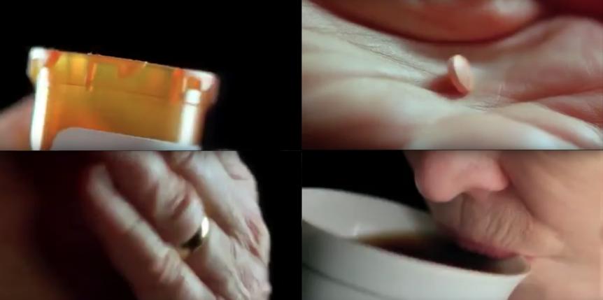 Figure 2. La consommation de médicaments amaigrissants de Sara Goldfarb, qui rêve d'être belle pour passer à la télévision, est aussi présentée de façon «hip-hop».