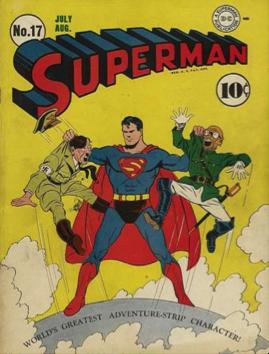 Superman mettant un terme au règne d'Adolf Hitler et de Hiro-Hito (Superman n°17, juillet/août 1942)