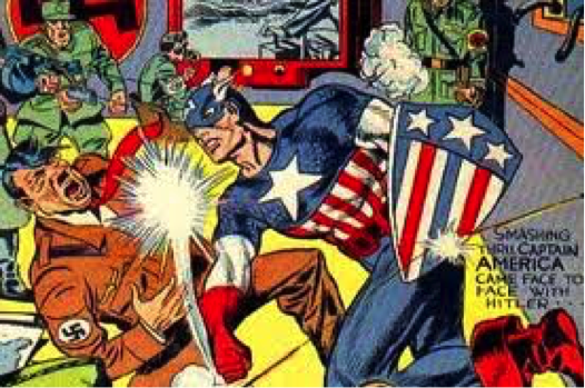 Captain America «face à face» avec Hitler en mars 1941. Cette scène est reprise sur un ton humoristique dans le film de Joe John