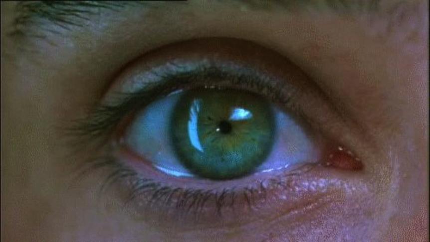 Figure 7. L'image d'un œil capté en très gros plan intervient à plusieurs reprises dans le film, renvoyant à l'expérience de visionnement du spectateur.